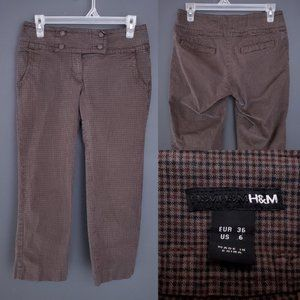 H&M Check Crop Pants Business Brown Stretch 6